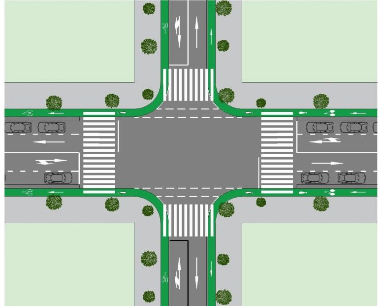 intersección con vía para ciclistas 5