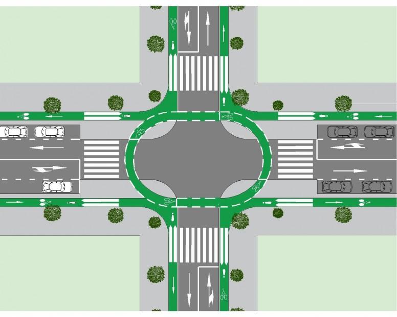 intersección con vía para ciclistas 7